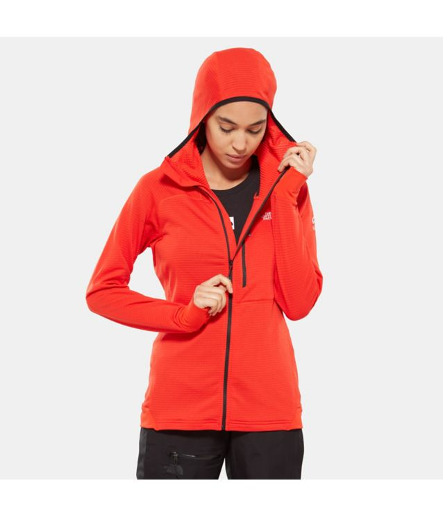 L2 Proprius Grid Fleecehoodie Fiery Red